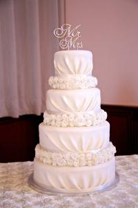 Rosette Draped Wedding Cake